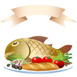 Prepared fish with loaf Royalty Free Stock Photography