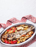 Prepared fish with vegetables Royalty Free Stock Images