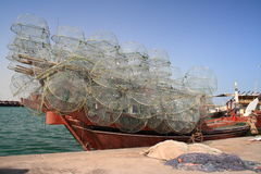 Prepared for fishing. A fishing boat in Qatar prepared to go Stock Photos