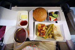 Prepared food on the plane Stock Photo
