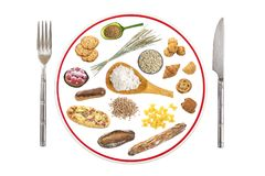 Prepared food plate for people allergic to gluten on grey slate background, red line through plate , prohibition sign. Plate prepared with food for gluten Royalty Free Stock Images