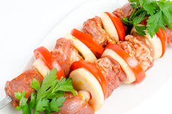 Prepared food for shish kebab Royalty Free Stock Photography