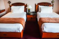 Prepared fresh bed, scene Stock Photos