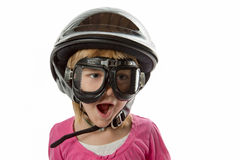Prepared - Girl with Helmet and Goggles Stock Photography