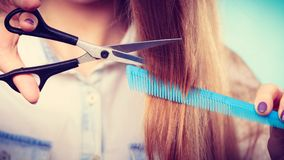 Prepared girl to cut her long straight hair. Change of look, new image. Young girl presents comb and scissors. Female stylist preparing equipment to work cut Stock Photography