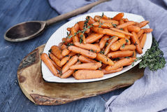 Prepared Honey Glazed Baby carrots stock photography
