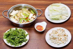 Prepared hot pot of seafood in Vietnamese style with mushroom, f Stock Images