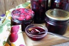 Prepared jars with jam Stock Photography