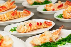 Prepared lobster on plate Royalty Free Stock Images