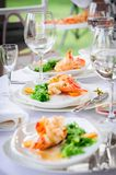 Prepared lobster on plate Stock Images
