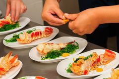 Prepared lobster on plate Stock Photo
