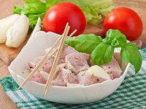 Prepared marinated with onions and herbs pieces of meat Royalty Free Stock Photo