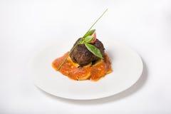 Prepared mignon steak. With potato garnish and sauce stock photo