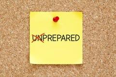 Prepared Not Unprepared Sticky Note Stock Image