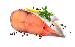 Prepared pangasius fish fillet pieces and spices Royalty Free Stock Photo
