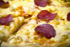 Prepared pizza with smelted cheese. Selective focus. Toned Royalty Free Stock Photography