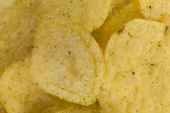 Prepared potato chips snack closeup view Stock Photo