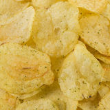 Prepared potato chips snack closeup view Stock Photos