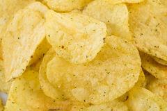 Prepared potato chips snack closeup view Stock Images