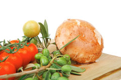 Prepared raw vegetables on cutting board Stock Images