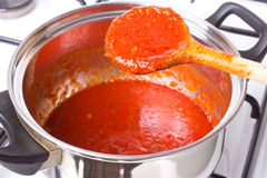 Prepared red sauce Royalty Free Stock Image