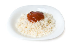 Prepared rice with tomato ketchup Stock Photos