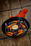 Prepared Root Vegetables in a Cast Iron Skillet Stock Images