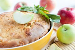 Prepared ruddy pie with fresh apples Royalty Free Stock Photo