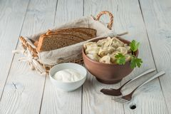 Russian traditional food pelmeni. Prepared Russian traditional food pelmeni royalty free stock photo