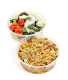 Prepared salads in takeout containers royalty free stock images