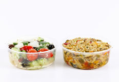 Prepared salads in takeout containers Stock Photo