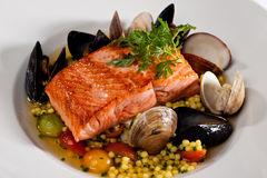 Prepared Salmon Seafood Dinner Stock Photos