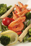 Prepared shrimp. With vegetables on a plate Stock Photo