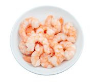 Prepared shrimp in a bowl  isolated Royalty Free Stock Photography