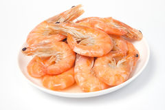 Prepared shrimps on plate Stock Images