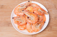 Prepared shrimps on plate Royalty Free Stock Photography