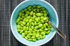 Prepared soybeans in bowl. Bowl of fresh green Edama soybeans placed in light blue bowl with silverspoon shot from above in horisontal format on black background Royalty Free Stock Images