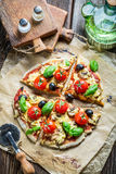 Prepared station to decorate the pizza Royalty Free Stock Photo