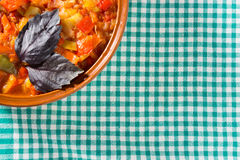 Prepared stew on a dishcloth Stock Photo