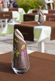 Prepared Table and Glasses in a French Restaurant Royalty Free Stock Photos