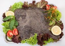 Prepared turbot with vegetables Royalty Free Stock Images