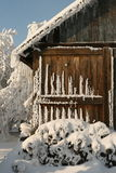 Prepared for winter. Small timber cottage seems the best for short winter holidays Royalty Free Stock Images