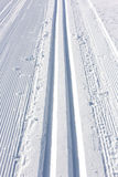 Winter ski track. Prepared winter cross skiing track Stock Photography