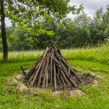 Prepared wood fireplace Stock Image
