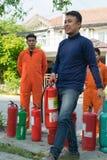 Preparedness for fire drill Stock Photography