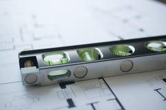 Prepares the architectural floorplan Stock Photo