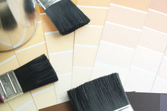 Prepares the architectural paint color for new home Royalty Free Stock Images