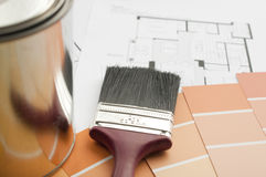 Prepares the architectural paint color for new home Stock Image