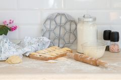 Prepares dumpling at home Royalty Free Stock Image