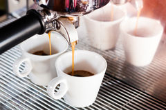 Prepares espresso in  coffee shop Royalty Free Stock Photos
